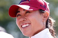 5th September 2021; Toledo, Ohio, USA;  Danielle Kang of Team USA smiles after winning her match on the 18th hole during the morning Four-Ball Pairings during the Solheim Cup on September 5th