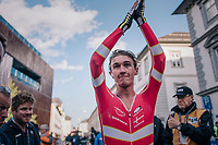 Mikkel Bjerg (DEN) wins the U23 TT title for the 2nd year in a row<br /> <br /> MEN UNDER 23 INDIVIDUAL TIME TRIAL<br /> Hall-Wattens to Innsbruck: 27.8 km<br /> <br /> UCI 2018 Road World Championships<br /> Innsbruck - Tirol / Austria