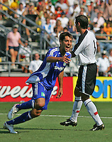 The MLS's Clint Dempsey celebrates his goal against Fulham at Columbus Crew Stadium in Columbus, OH Saturday, July 30, 2005. The MLS All-Stars won 4-1. (Photo by Brooks Parkenridge/ISI)