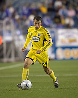 Columbus Crew defender Jed Zayner (24). The Columbus Crew defeated the New England Revolution, 1-0, at Gillette Stadium on October 10, 2009.