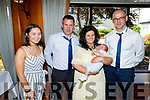The christening party of Fionn O'Sullivan from Kiskeam, Co Cork in the Ballygarry House Hotel on Saturday. L to r: Leah O'Sullivan (GM), Michael , baby Fionn and Denise O'Sullivan and Jerome Murphy (GF).