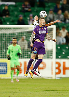 23rd May 2021; HBF Park, Perth, Western Australia, Australia; A League Football, Perth Glory versus Macarthur; Andy Keogh of Perth Glory wins the heading duel with Mark Milligan of Macarthur FC