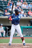 Columbus Clippers third baseman Yandy Diaz (11) at bat during a game against the Gwinnett Stripers on May 17, 2018 at Huntington Park in Columbus, Ohio.  Gwinnett defeated Columbus 6-0.  (Mike Janes/Four Seam Images)