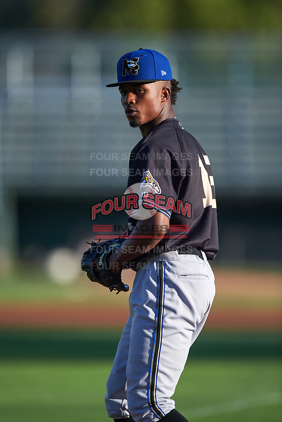 Missoula Osprey starting pitcher Alex Valdez (15) warms up before a Pioneer League game against the Idaho Falls Chukars at Melaleuca Field on August 20, 2019 in Idaho Falls, Idaho. Idaho Falls defeated Missoula 6-3. (Zachary Lucy/Four Seam Images)