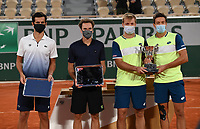 10th October 2020, Roland Garros, Paris, France; French Open tennis, Mens Doubles final 2020; Kevin Krawietz and Andreas Mies , Germay winning their second Roland Garros Doubles Title against Pavic and<br />