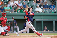 Center fielder Jesse Franklin V (33) of the Rome Braves in a game against the Greenville Drive on Wednesday, August 4, 2021, at Fluor Field at the West End in Greenville, South Carolina. The catcher is Elih Marrero (10). (Tom Priddy/Four Seam Images)