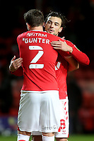 Chris Gunter celebrates Charlton's 5-2 victory at the final whistle with Jake Forster-Caskey during Charlton Athletic vs AFC Wimbledon, Sky Bet EFL League 1 Football at The Valley on 12th December 2020