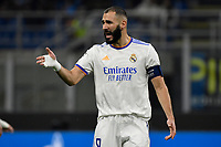 Karim Benzema of Real Madrid reacts during the Uefa Champions League group D football match between FC Internazionale and Real Madrid at San Siro stadium in Milano (Italy), September 15th, 2021. Photo Andrea Staccioli / Insidefoto