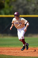 Boston College Eagles shortstop Johnny Adams (8) leads off second base during a game against the Central Michigan Chippewas on March 3, 2017 at North Charlotte Regional Park in Port Charlotte, Florida.  Boston College defeated Central Michigan 5-4.  (Mike Janes/Four Seam Images)