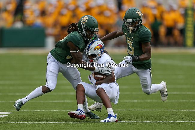 Kansas Jayhawks wide receiver Quan Hampton (6) in action during the game between the Kansas Jayhawks and the Baylor Bears at the McLane Stadium in Waco, Texas.