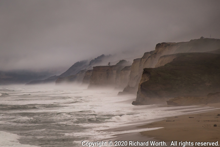 Nature's gossamer veil of fog and sea spray,morning mist and magic.