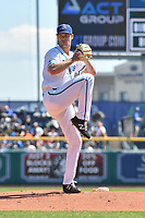 Jack Wynkoop (23) of the Hartford Yard Goats is set to deliver a pitch during a game against the Binghamton Rumble Ponies at Dunkin Donuts Park on May 9, 2018 in Hartford, Connecticut. (Gregory Vasil/Four Seam Images)