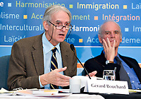 Quebec City, October 30, 2007 - GÈrard Bouchard (left) and Charles Taylor, co-chairs of the Bouchard-Taylor commission, the Consultation Commission on Accommodation Practices set up by premier Jean Charest. Photo Francis Vachon<br /> <br /> PHOTO :  Francis Vachon - Agence Quebec Presse