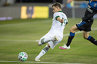 SAN JOSE, CA - SEPTEMBER 19: Tomas Conechny #19 of the Portland Timbers kicks the ball during a game between Portland Timbers and San Jose Earthquakes at Earthquakes Stadium on September 19, 2020 in San Jose, California.