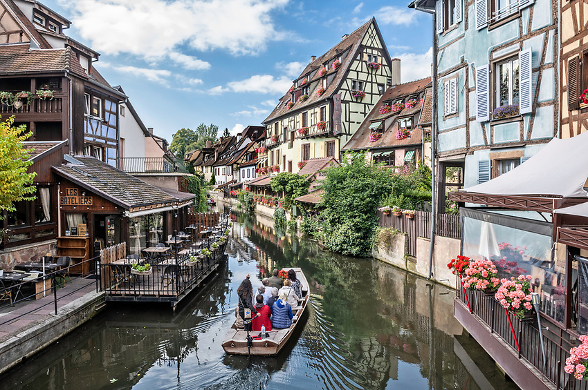 "View of the La Lsuch river in the ""Petite Venise"" section of Colmar, a beautiful Alsatian city"