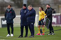 Frustration for West Ham manager Matt Beard during West Ham United Women vs Arsenal Women, Women's FA Cup Football at Rush Green Stadium on 26th January 2020