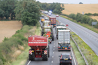 5-8-2021 Harvesting equipment being moved down a dual carriageway <br /> ©Tim Scrivener Photographer 07850 303986<br />      ....Covering Agriculture In The UK....