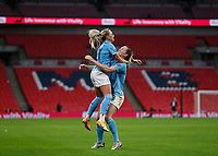1st November 2020; Wembley Stadium, London, England; Womens FA Cup Final Football, Everton Womens versus Manchester City Womens; Sam Mewis of Manchester City celebrates with Alex Greenwood of Manchester City Women after scoring her sides 1st goal in the 29th minute to make it 1-0