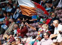 29th May 2021; Twickenham Stoop, London, England; English Premiership Rugby, Harlequins versus Bath; A Quins super fan during the match and spectators back at the stoop