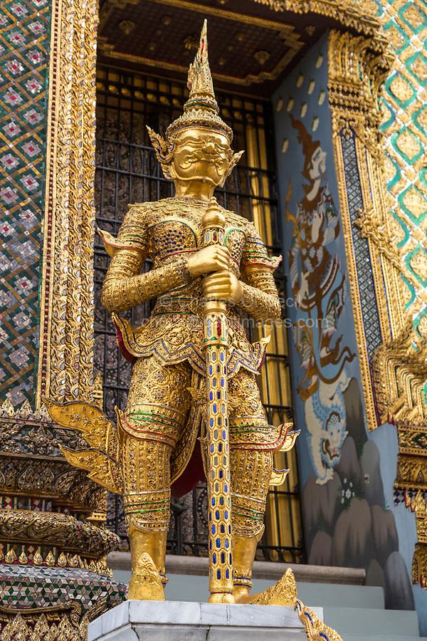 Bangkok, Thailand.  Demon Guardian Sculpture (Yaksha)  around the Phra Mondop, Royal Grand Palace.