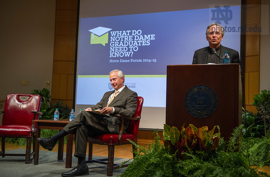 "Nov. 4, 2014; Rev. John I. Jenkins, C.S.C., president of Notre Dame introduces Richard Brodhead, president of Duke University before his talk exploring ""The Once and Future Liberal Arts,"" as part of Notre Dame 2014-2015 Forum. (Photo by Barbara Johnston/University of Notre Dame)"