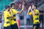 Borussia Dortmund Forward Pierre-Emerick Aubameyang (C) celebrating his score with Borussia Dortmund Midfielder Christian Pulisic (R) during the International Champions Cup 2017 match between AC Milan vs Borussia Dortmund at University Town Sports Centre Stadium on July 18, 2017 in Guangzhou, China. Photo by Marcio Rodrigo Machado / Power Sport Images