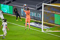 LOS ANGELES, CA - SEPTEMBER 13: Steve Clark #12 GK of the Portland Timbers saves a high ball during a game between Portland Timbers and Los Angeles FC at Banc of California stadium on September 13, 2020 in Los Angeles, California.