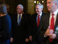 United States Vice President Mike Pence and United States Senate Majority Leader Mitch McConnell (Republican of Kentucky) arrive to Republican Senate luncheons on Capitol Hill in Washington D.C., U.S., on Tuesday, November 5, 2019.<br />  <br /> Credit: Stefani Reynolds / CNP /MediaPunch