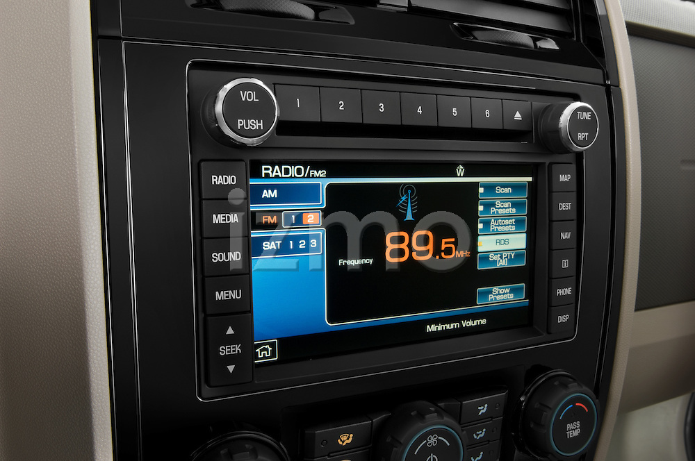 Stereo audio system close up detail view of a 2009 Ford Escape Hybrid