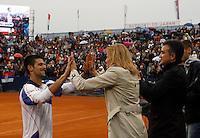 Tenis, Serbia Open 2011.Final.Novak Djokovic (SRB) Vs. Feliciano Lopez (ESP).Novak Djokovic, celebrate with mother Dijana Djokovic and father Srdjan Djokovic.Beograd, 01.05.2011..foto: Srdjan Stevanovic