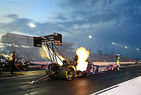 Aug 29, 2014; Clermont, IN, USA; NHRA top fuel dragster driver Larry Dixon during qualifying for the US Nationals at Lucas Oil Raceway. Mandatory Credit: Mark J. Rebilas-USA TODAY Sports
