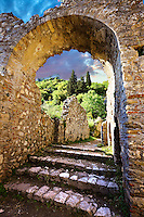 Mystras established in 1205 after the conquest of Constantinople during the Fourth Crusade by Prince William II Villehardouin & capital of the Byzantine Despotate of The Morea in the 14th & 15th centuries. Mystras was the last Byzantine stronghold surrendered by Demetrius Palaeologus to the Ottoman Sultan Mehmen II in 1460. Sparta, the Peloponnese, Greece. A UNESCO World Heritage Site.