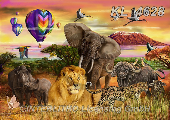 REALISTIC ANIMALS, REALISTISCHE TIERE, ANIMALES REALISTICOS, zeich1, paintings+++++,KL4628,#a#, EVERYDAY ,big five,lion,rhino,leopard,cape buffalo,elephant ,Franco,