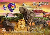REALISTIC ANIMALS, REALISTISCHE TIERE, ANIMALES REALISTICOS, zeich1, paintings+++++,KL4628,#a#, EVERYDAY ,big five,lion,rhino,leopard,cape buffalo,elephant