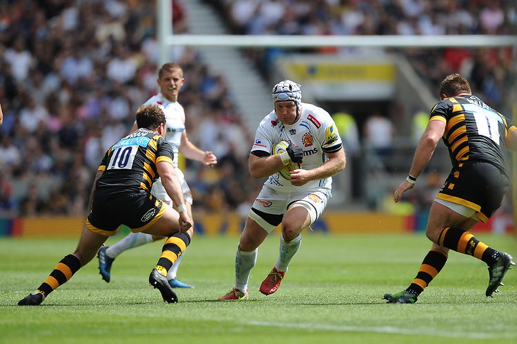 Thomas Waldrom of Exeter Chiefs goes up against Danny Cipriani of Wasps during the Premiership Rugby Final at Twickenham Stadium on Saturday 27th May 2017 (Photo by Rob Munro)