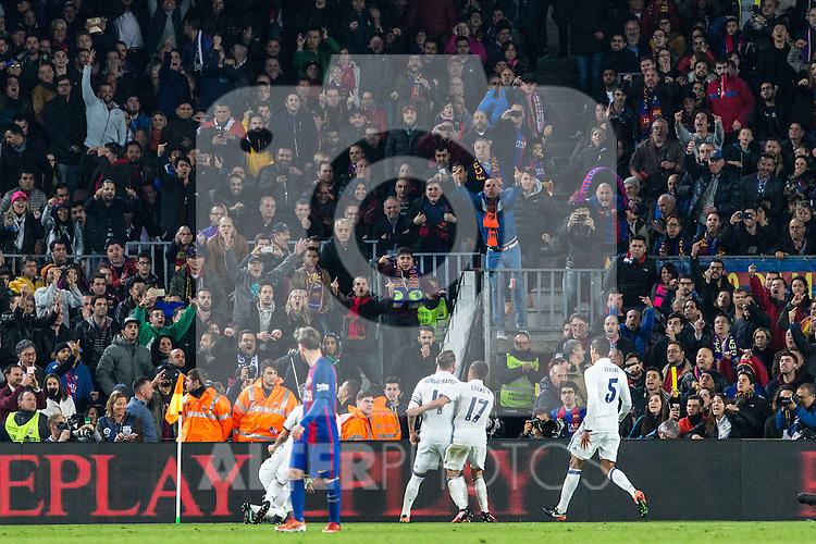 Real Madrid's Sergio Ramos,Carlos Henrique Casemiro , Marco Asensio,FC Barcelona's Leo Messi  during spanish La Liga match between Futbol Club Barcelona and Real Madrid  at Camp Nou Stadium in Barcelona , Spain. Decembe r03, 2016. (ALTERPHOTOS/Rodrigo Jimenez)