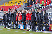 German substitutes pictured before a friendly female soccer game between the national teams of Germany and  Belgium , called the Red Flames  in a pre - bid tournament called Three Nations One Goal with the national teams from Belgium , The Netherlands and Germany towards a bid for the hosting of the 2027 FIFA Women's World Cup , on Sunday 21 st of February 2021  in Aachen , Germany . PHOTO SPORTPIX.BE   SPP   STIJN AUDOOREN