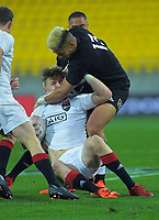 North's Rueko Ioane tackles South's Jordie Barrett during the rugby match between North and South at Sky Stadium in Wellington, New Zealand on Saturday, 5 September 2020. Photo: Dave Lintott / lintottphoto.co.nz
