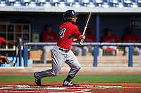 GCL Red Sox outfielder Tyler Hill (34) at bat during the first game of a doubleheader against the GCL Rays on August 4, 2015 at Charlotte Sports Park in Port Charlotte, Florida.  GCL Red Sox defeated the GCL Rays 10-2.  (Mike Janes/Four Seam Images)