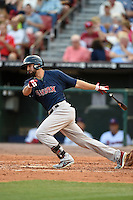Pawtucket Red Sox shortstop Deven Marrero (29) at bat during a game against the Buffalo Bisons on August 26, 2014 at Coca-Cola Field in Buffalo, New  York.  Pawtucket defeated Buffalo 9-3.  (Mike Janes/Four Seam Images)