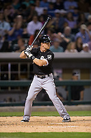 Gordon Beckham (15) of the Chicago White Sox at bat against the Charlotte Knights at BB&T Ballpark on April 3, 2015 in Charlotte, North Carolina.  The Knights defeated the White Sox 10-2.  (Brian Westerholt/Four Seam Images)