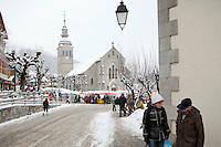 Weekly Wednesday morning market, Le Grand Bornand, France, 15 February 2012.