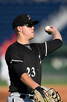 First baseman Gavin Sheets (23) of the Kannapolis Intimidators prior to a game against the Greenville Drive on Friday, July 14, 2017, at Fluor Field at the West End in Greenville, South Carolina. Greenville won, 2-0. (Tom Priddy/Four Seam Images)