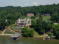 aerial photograph of 7820 Kara Lane, Knoxville, Knox County, Tennessee, a beautiful riverfront home on the Tennessee River