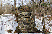 Remnants of the Civilian Conservation Corps Camp's Wildwood Camp along Tunnel Brook Road in Easton, New Hampshire USA. The Civilian Conservation Corps was a public work relief program that operated from 1933 to 1942 in the United States.