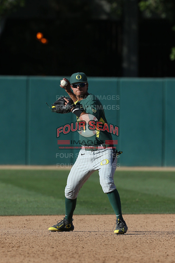 Kyle Kasser (1) of the Oregon Ducks in the field during a game against the Southern California Trojans at Dedeaux Field on April 18, 2015 in Los Angeles, California. Oregon defeated Southern California, 15-4. (Larry Goren/Four Seam Images)