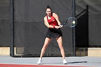 RALEIGH, NC - JANUARY 25: Oleksandra Korashvili of the University of Oklahoma during a game between Oklahoma and Florida at J.W. Isenhour Tennis Center on January 25, 2020 in Raleigh, North Carolina.
