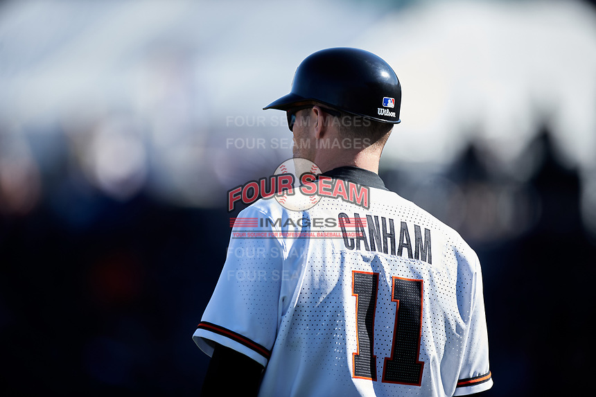 Oregon State Beavers manager Mitch Canham (11) during an NCAA game against the New Mexico Lobos at Surprise Stadium on February 14, 2020 in Surprise, Arizona. (Zachary Lucy / Four Seam Images)