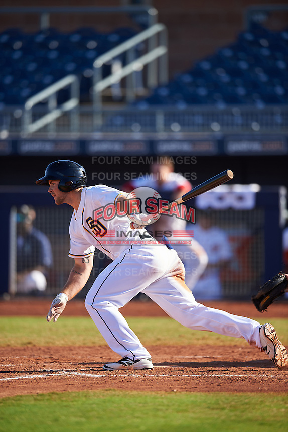 Peoria Javelinas Michael Gettys (23), of the San Diego Padres organization, during a game against the Scottsdale Scorpions on October 22, 2016 at Peoria Stadium in Peoria, Arizona.  Peoria defeated Scottsdale 3-2.  (Mike Janes/Four Seam Images)
