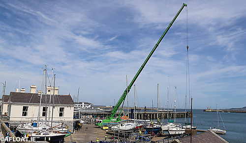 There they are – gone…..Today (Saturday's) lift-in at the National YC is one of three similar club operations this weekend in Dun Laoghaire. Photo: Afloat.ie